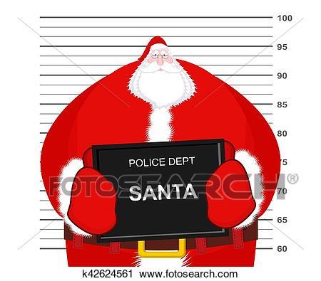 Mugshot Santa Claus at Police Department. Mug shot Christmas. Arrested Bad  Santa holding black plate. Grandpa Photo Prisoner in custody for new year..