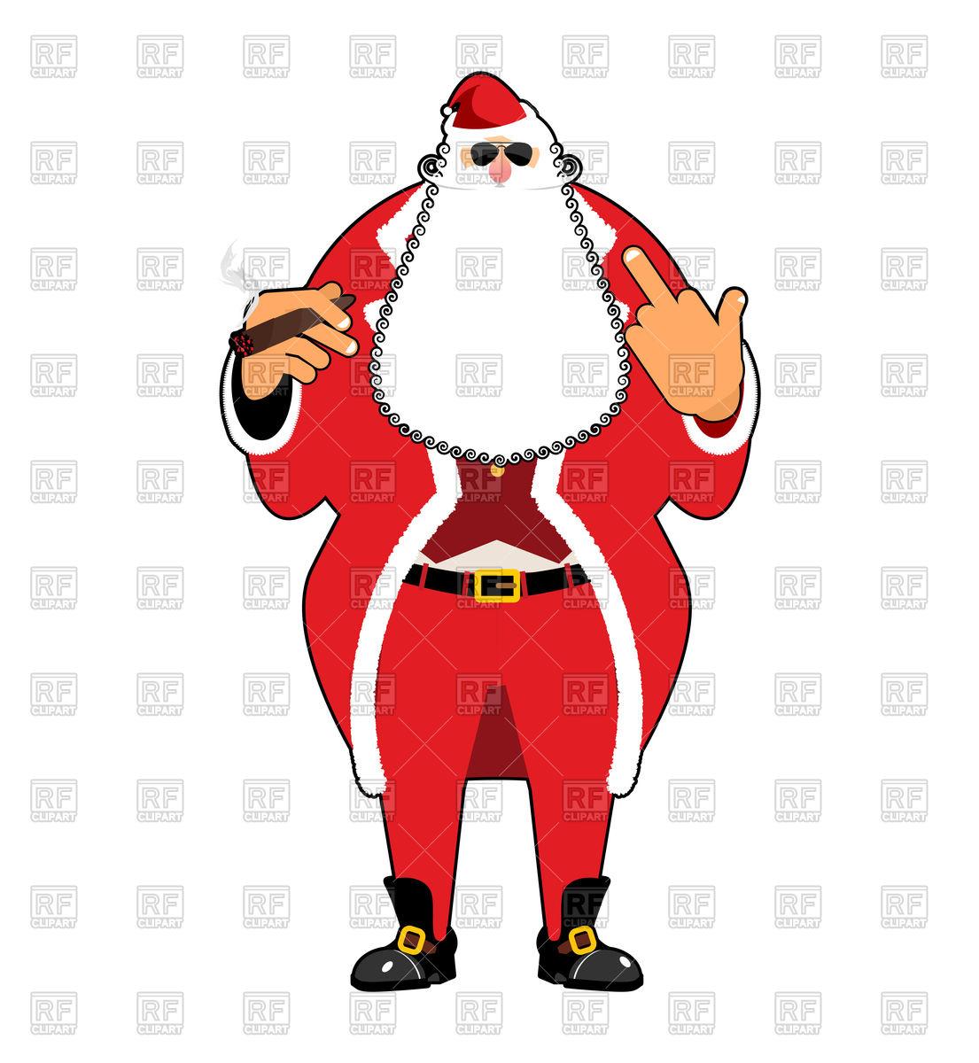 Bad Santa with cigar Stock Vector Image.
