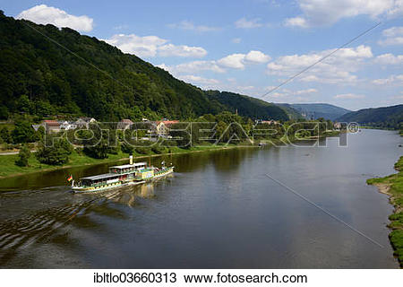 "Stock Photo of ""Excursion boat on the Elbe River, near Bad."