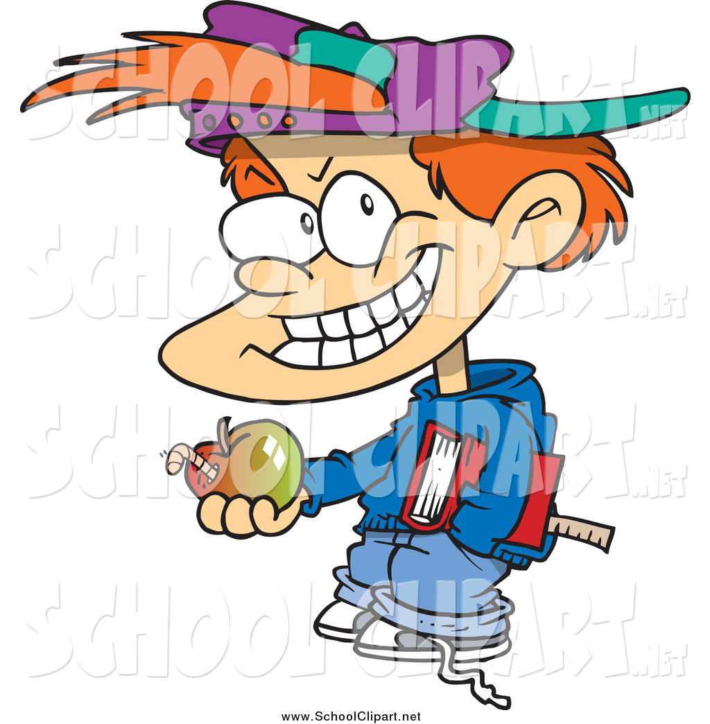 Clip Art of a Bad White School Boy Holding an Apple by Ron.