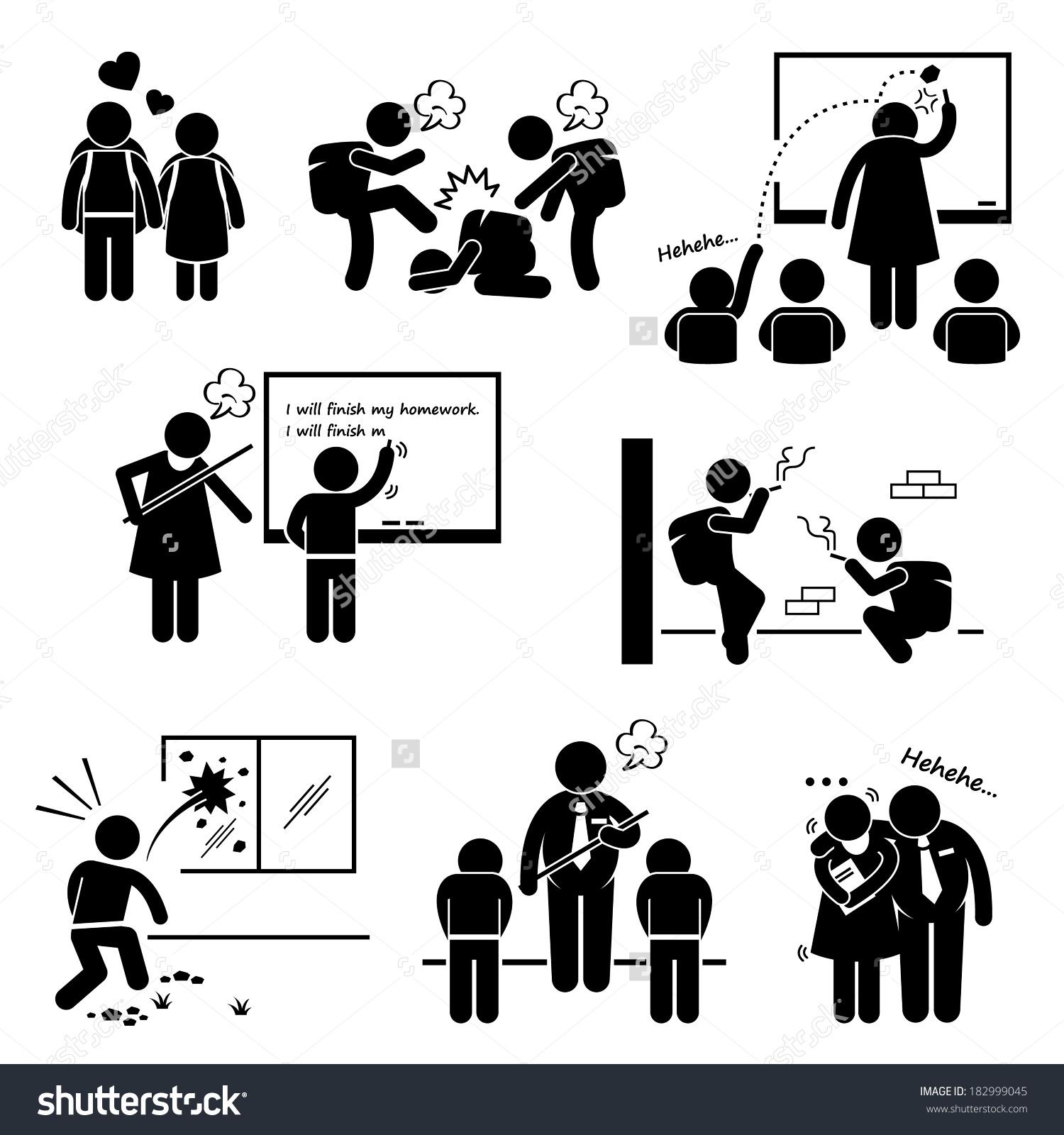 School Education Social Problem Student Teacher Stock Illustration.