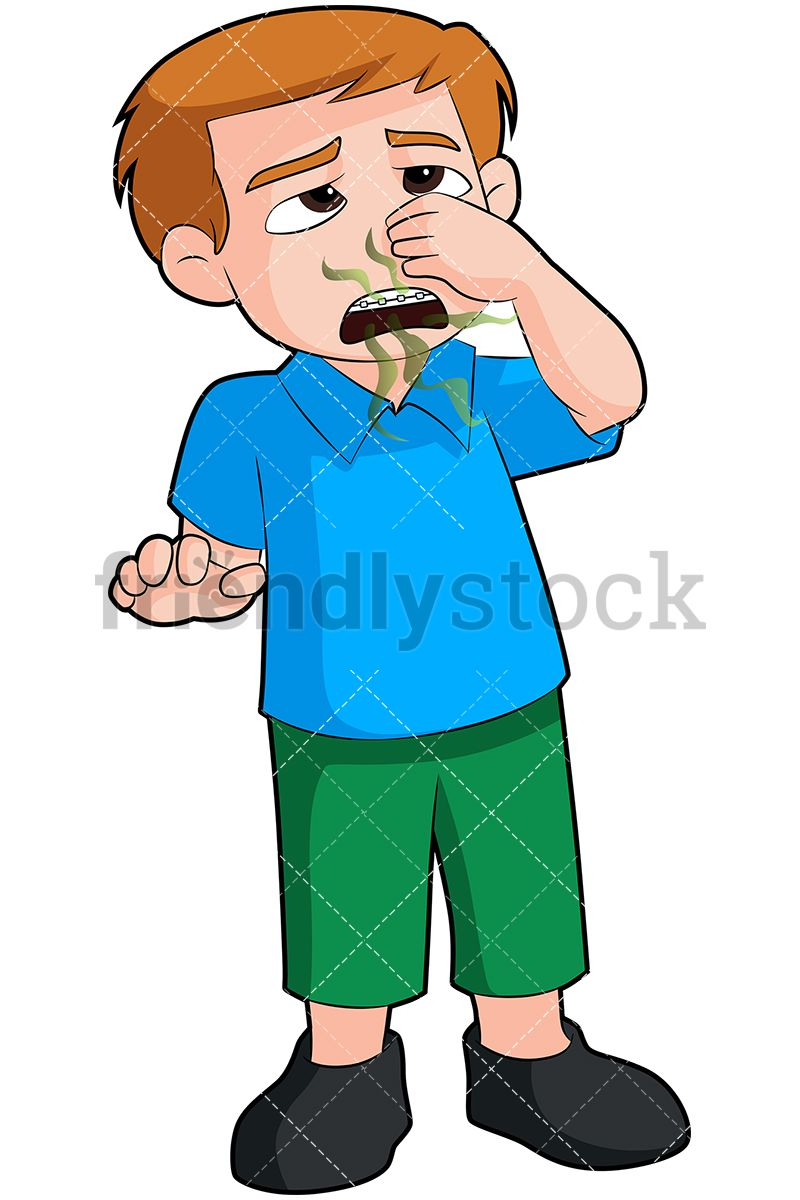 Little Boy Closing His Nose To Avoid Smelling His Bad.