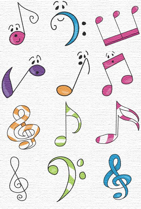 Musical Notes Free Embroidery.