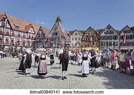 """Stock Photography of """"Bandltanz dance, Uracher Schaferlauf."""