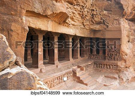 Stock Photograph of Cave temple, Badami, Karnataka, India, Asia.