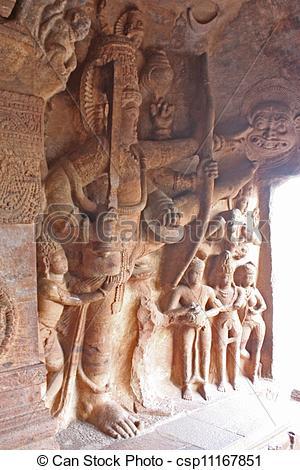 Stock Images of Sculpture at entrance of Cave at Badami, Karnataka.
