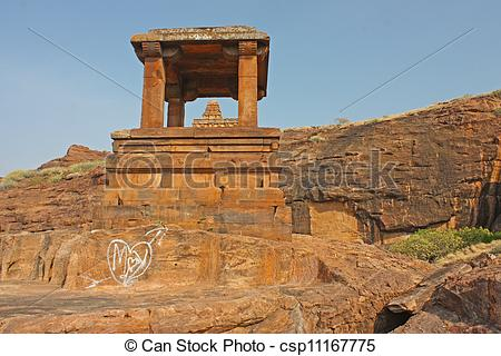 Picture of Fort atop rocky mountain and cave temples at Badami.