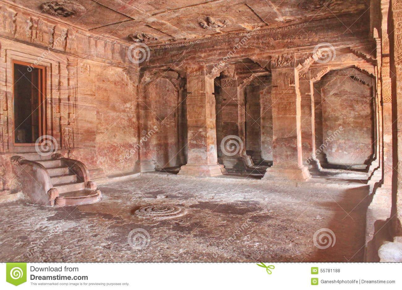 Badami Cave Temples Inside View, Karnataka, India Editorial Stock.