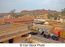 Stock Photo of Aerial view of village houses in Badami, Karnataka.