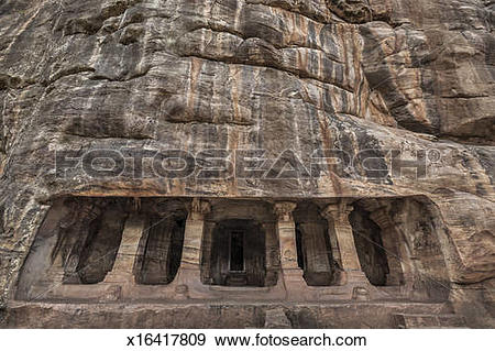 Stock Photograph of Badami Cave Temple, Badami, Karnataka, India.