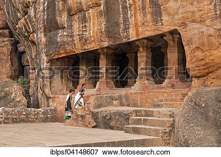 Picture of Entrance to the cave temples, Badami, Karnataka, India.