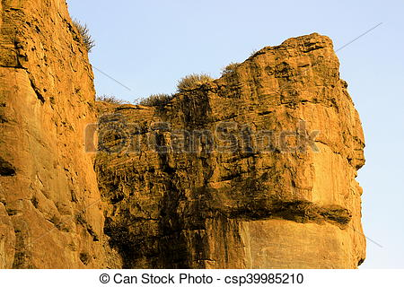 Stock Photography of Giant Rocky Walls, Badami.