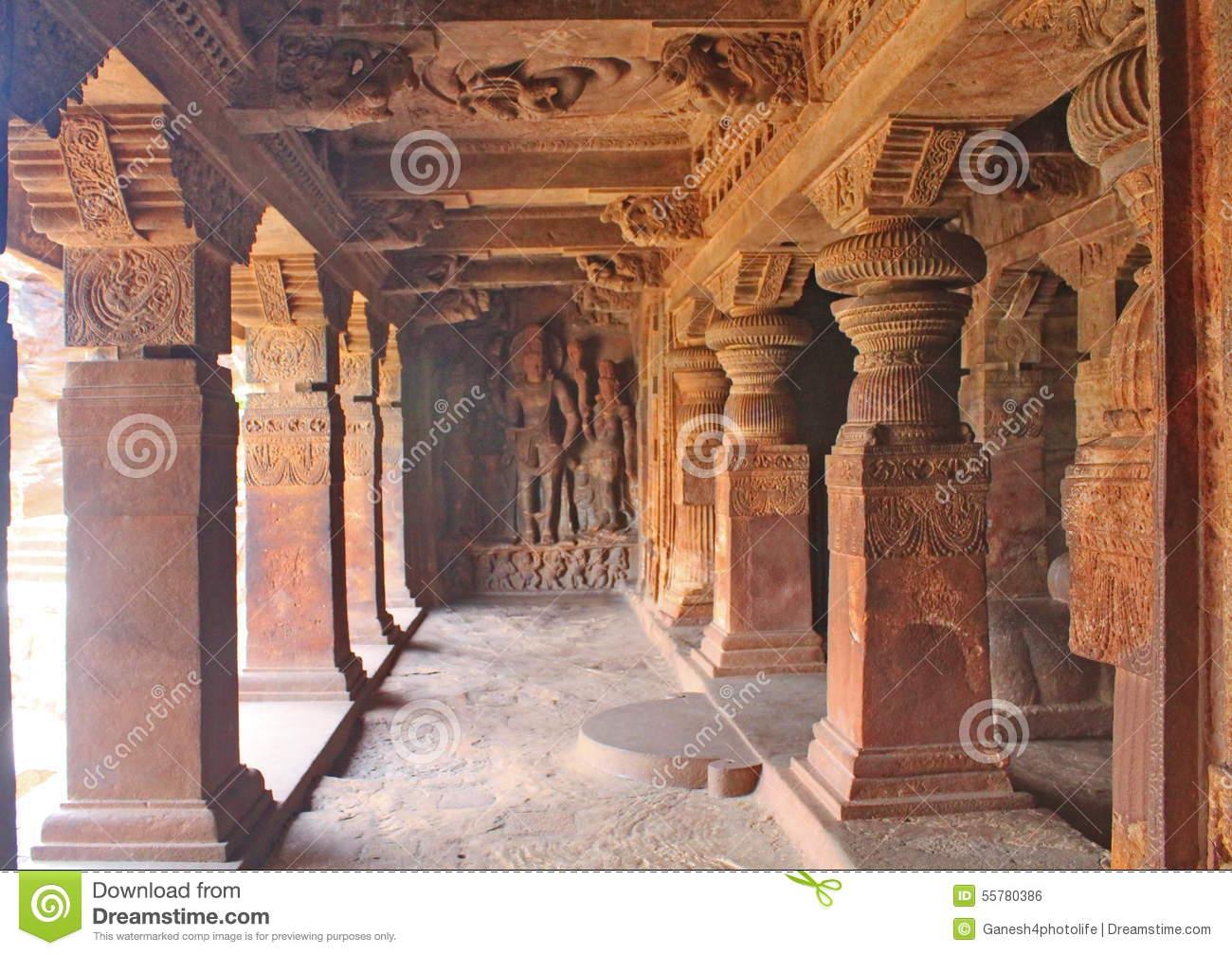 The Pillars Of Badami Cave Temples, India Stock Photo.