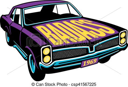 Vector Illustration of Badass Muscle Car Vector Design.