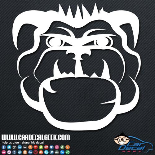 Mean Badass Bulldog Car Sticker Decal.