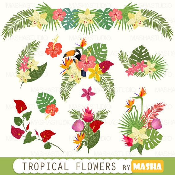Tropical clipart: Tropical Flowers Clipart with by MashaStudio.