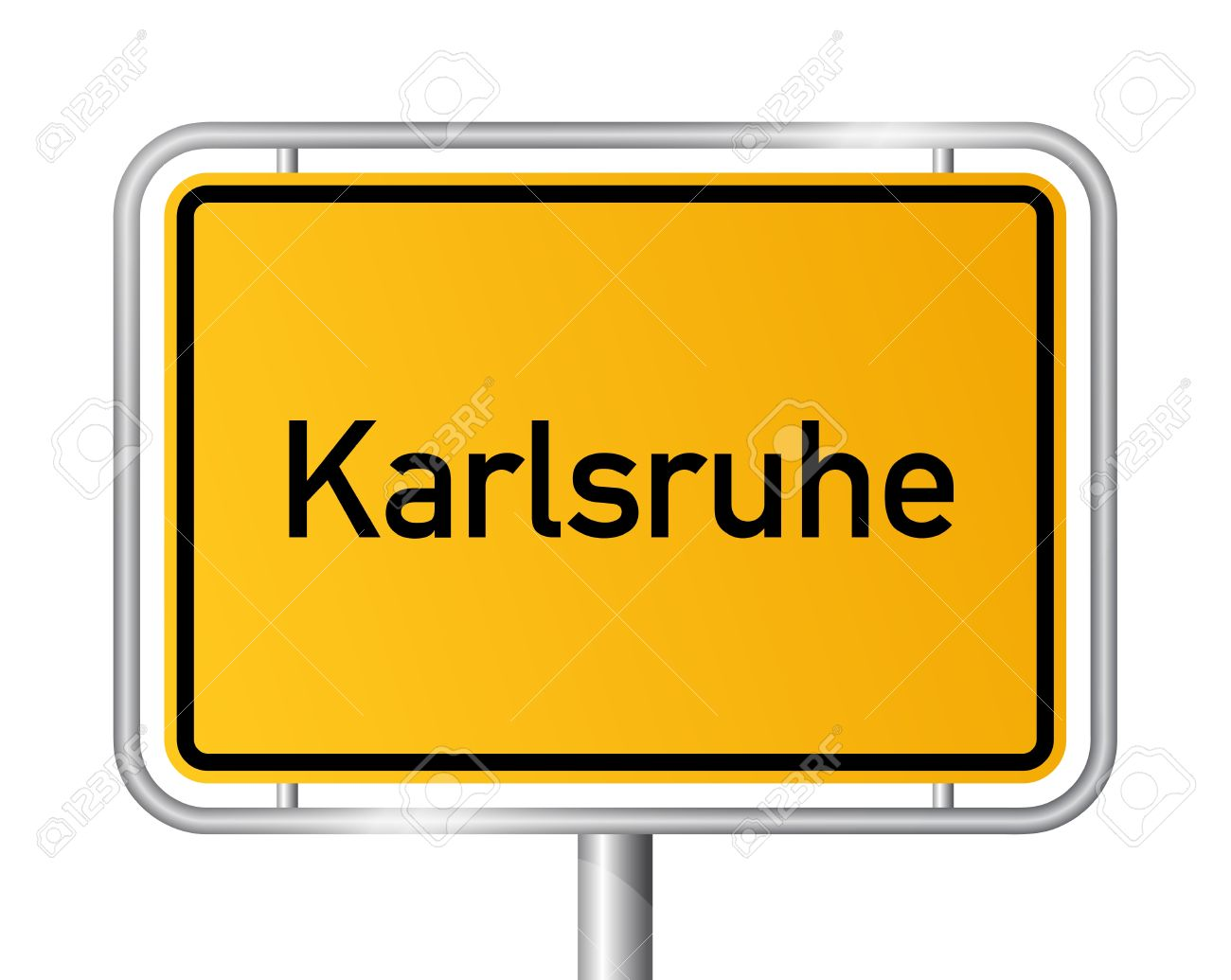 City Limit Sign KARLSRUHE Against White Background.