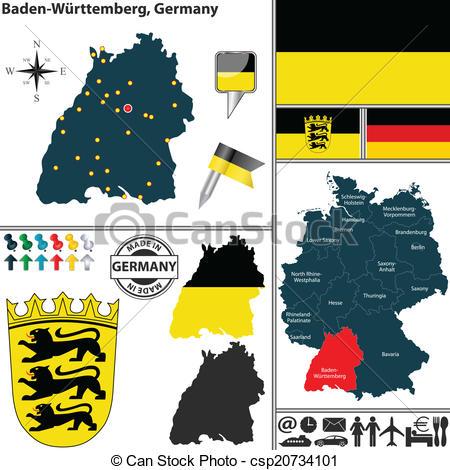 Vector Clipart of Map of Baden.