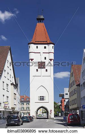 """Stock Image of """"Ulmer Tor, Ulm Gate, Biberach an der Riss, Upper."""