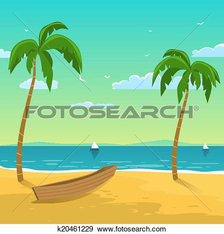 Clip Art of Boat on the beach k20461229.