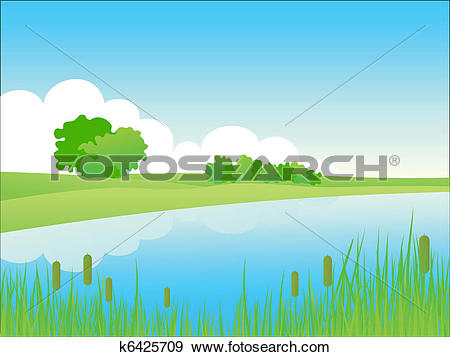 Clip Art of Summer riverside landscape. k6425709.