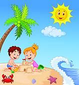 Clipart of Happy family enjoying on beach k18915554.