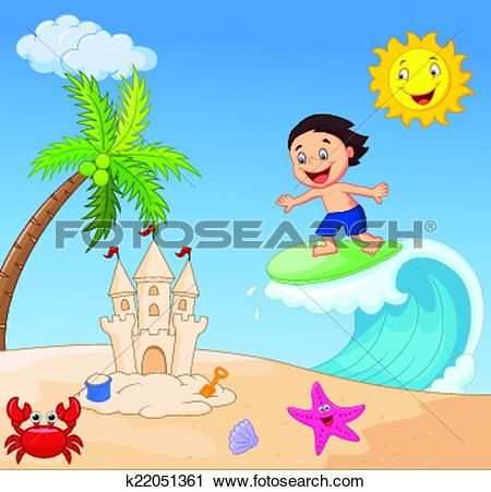 Clip Art of Happy cartoon sun k23485379.