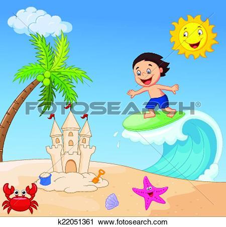 Clip Art of Happy cartoon sun k23485379.