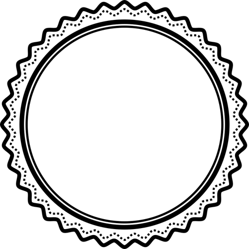 Black and white badge.
