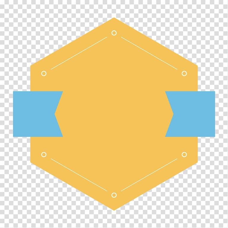 Hexagonal yellow logo, Badge, creative PPT design border.