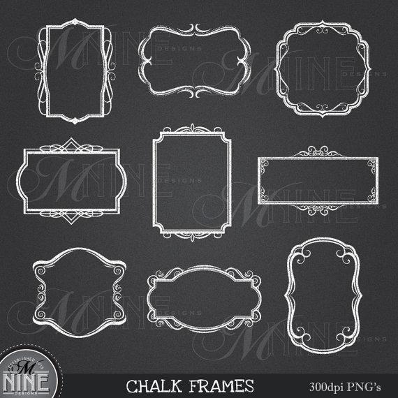 CHALK FRAMES Clipart Design Elements, Instant Download.