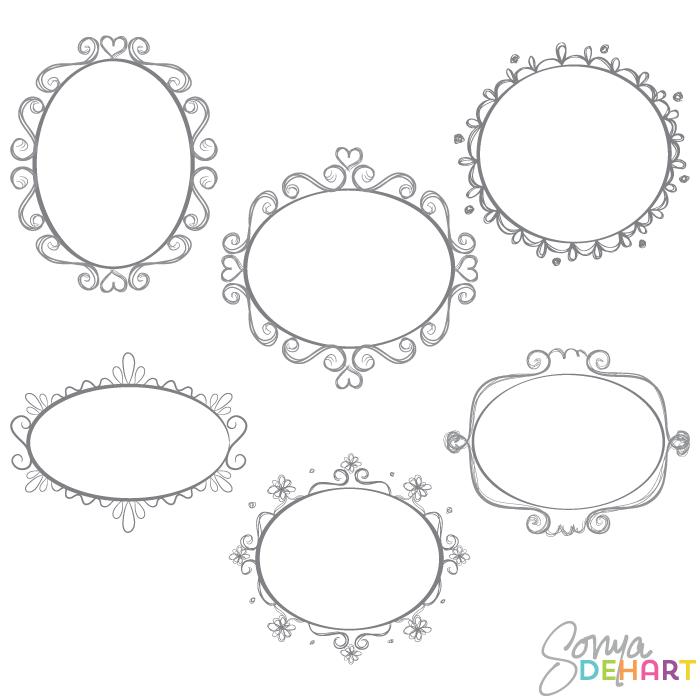 Clip Art Oval Doodle Frames.