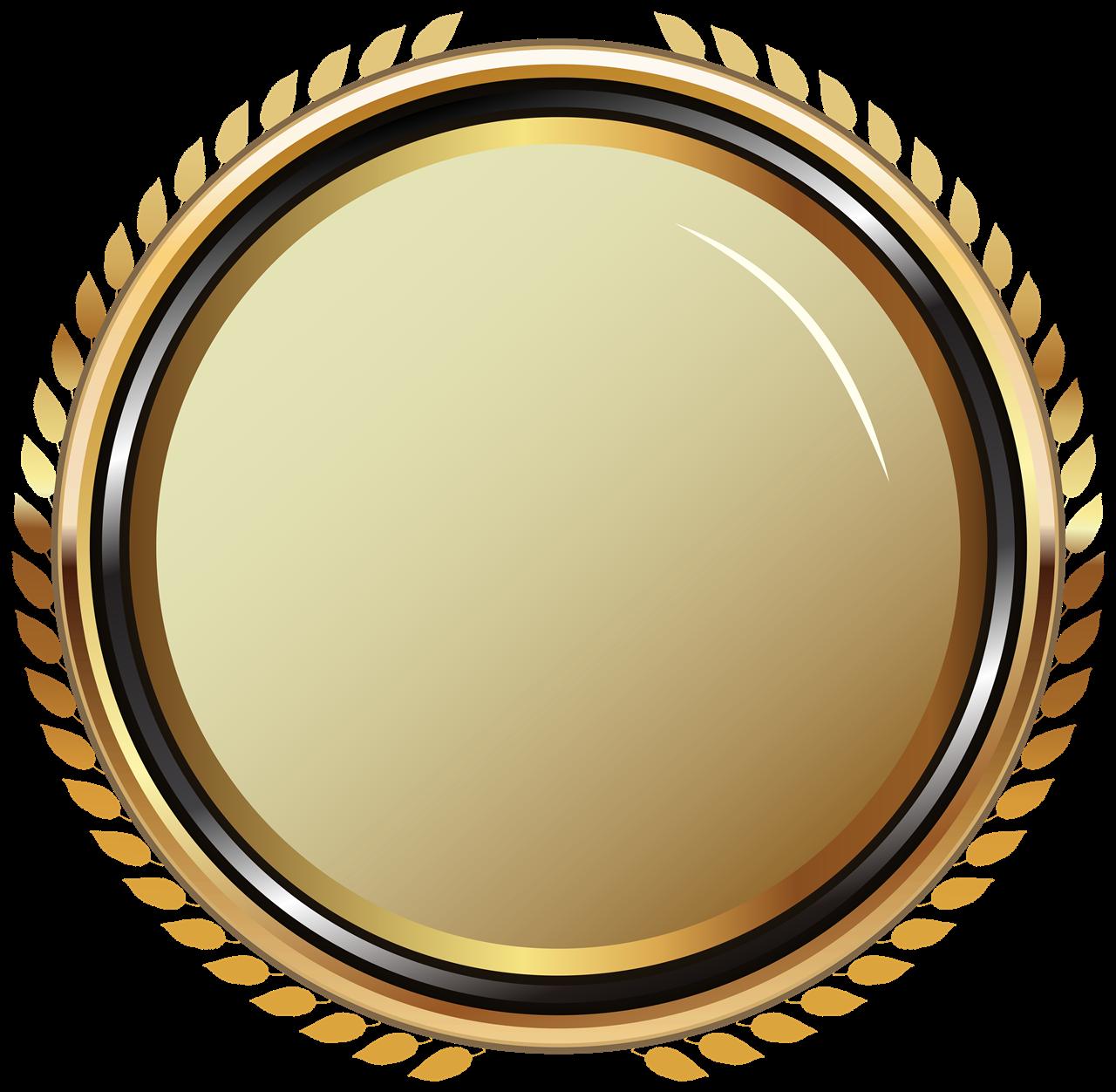 Golden Badge PNG Image Background.
