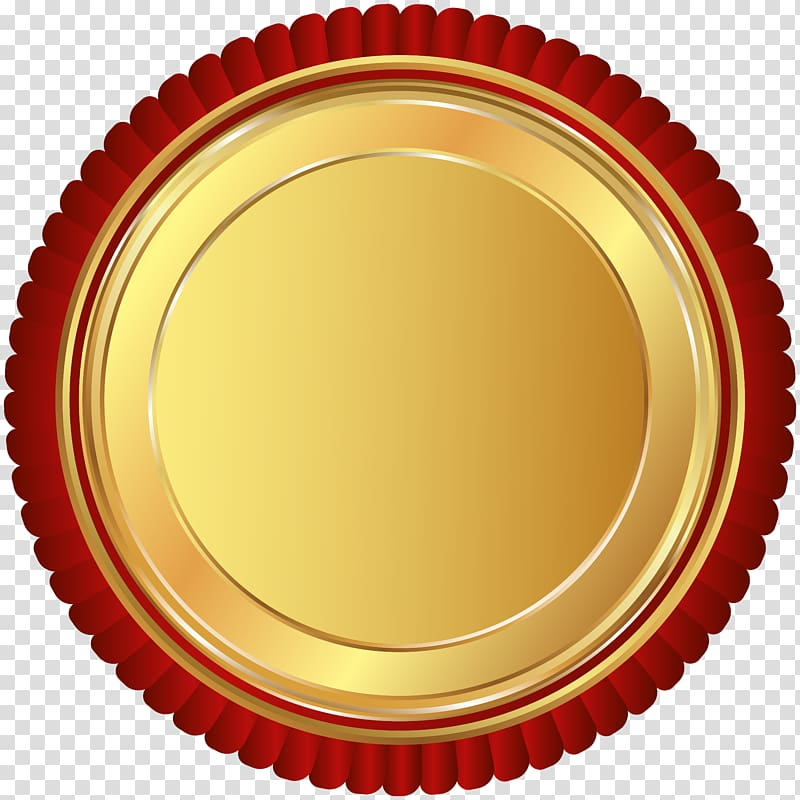 Round red and gold logo, , Gold Red Seal Badge transparent.