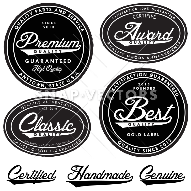 Vector Clipart Illustrated Retro Badge and Label Set.