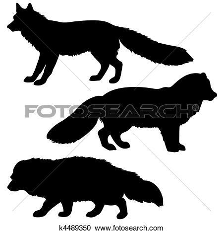 Clipart of silhouette polar fox, badger, vixens isolated on white.