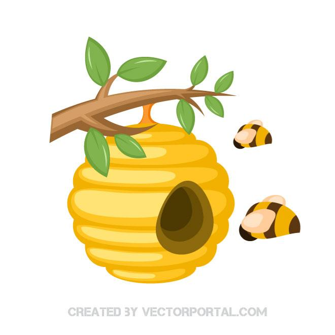 Honey bees in a beehive.