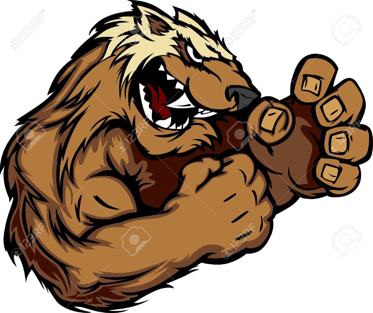 Wolverine Badger Fighting Mascot Body Vector Illustration.