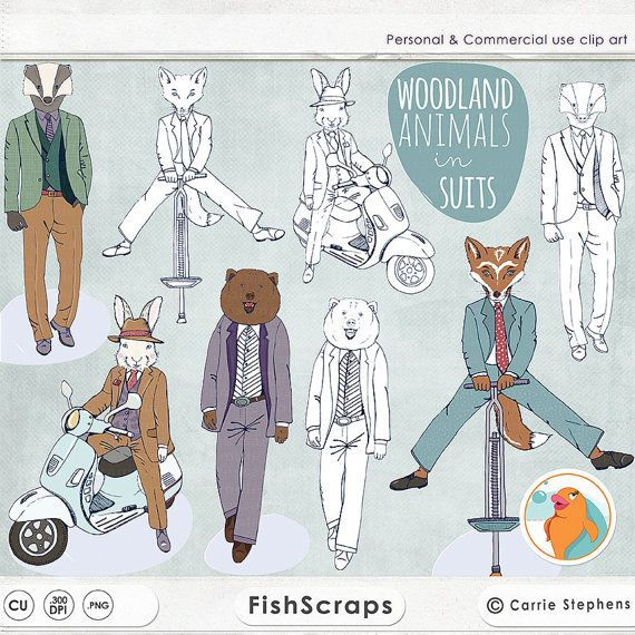 Woodland Animals in Suits ClipArt.