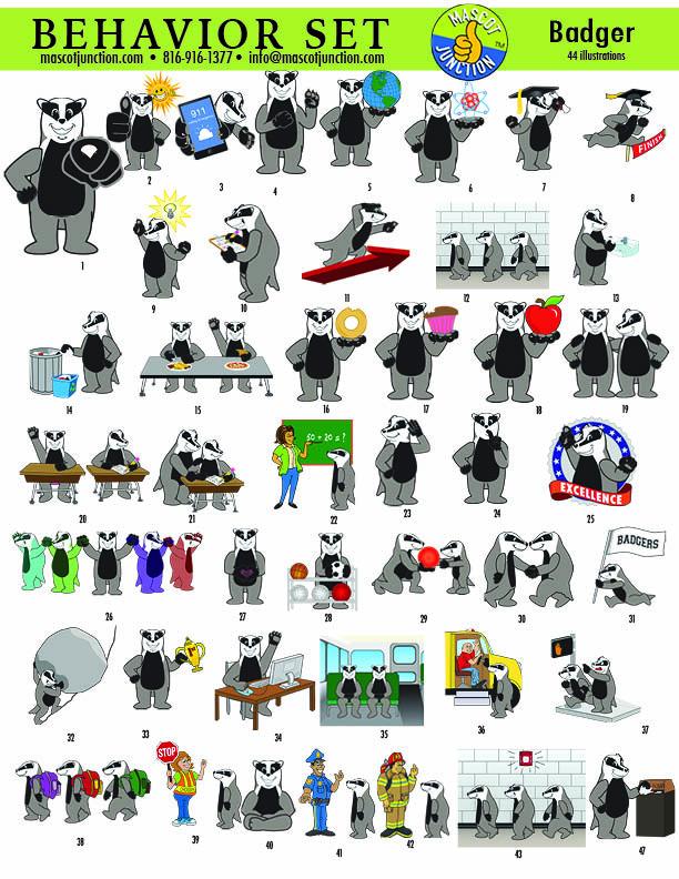 Badger Mascot Clip Art.