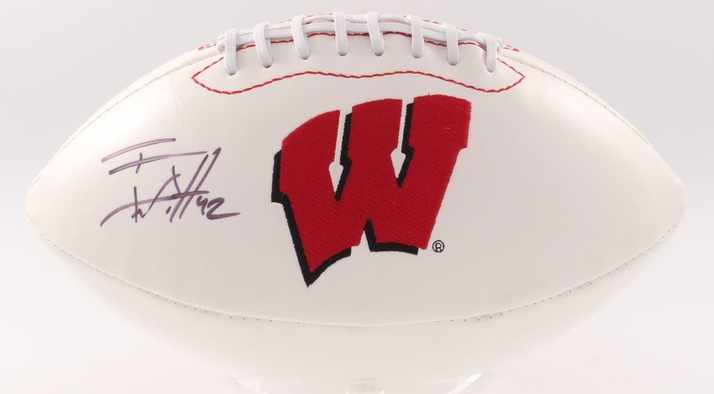 T.J. Watt Signed Wisconsin Badgers Logo Football (JSA COA).