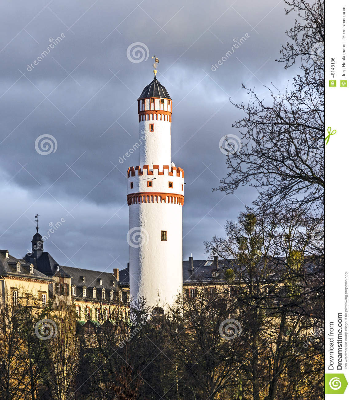 Weisser Turm Or White Tower In Bad Homburg Stock Photo.