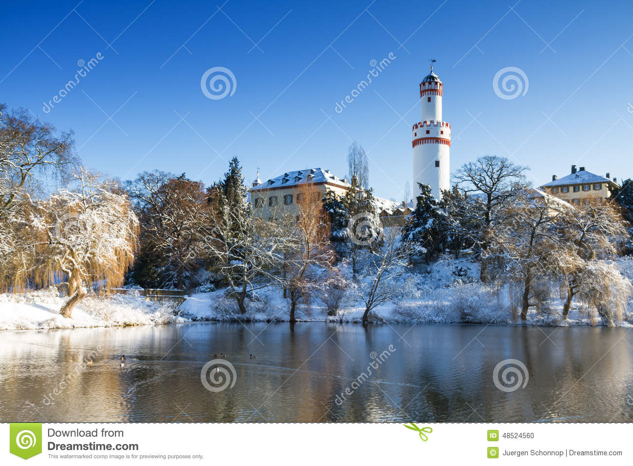 Castle Bad Homburg In The Winter Stock Photo.