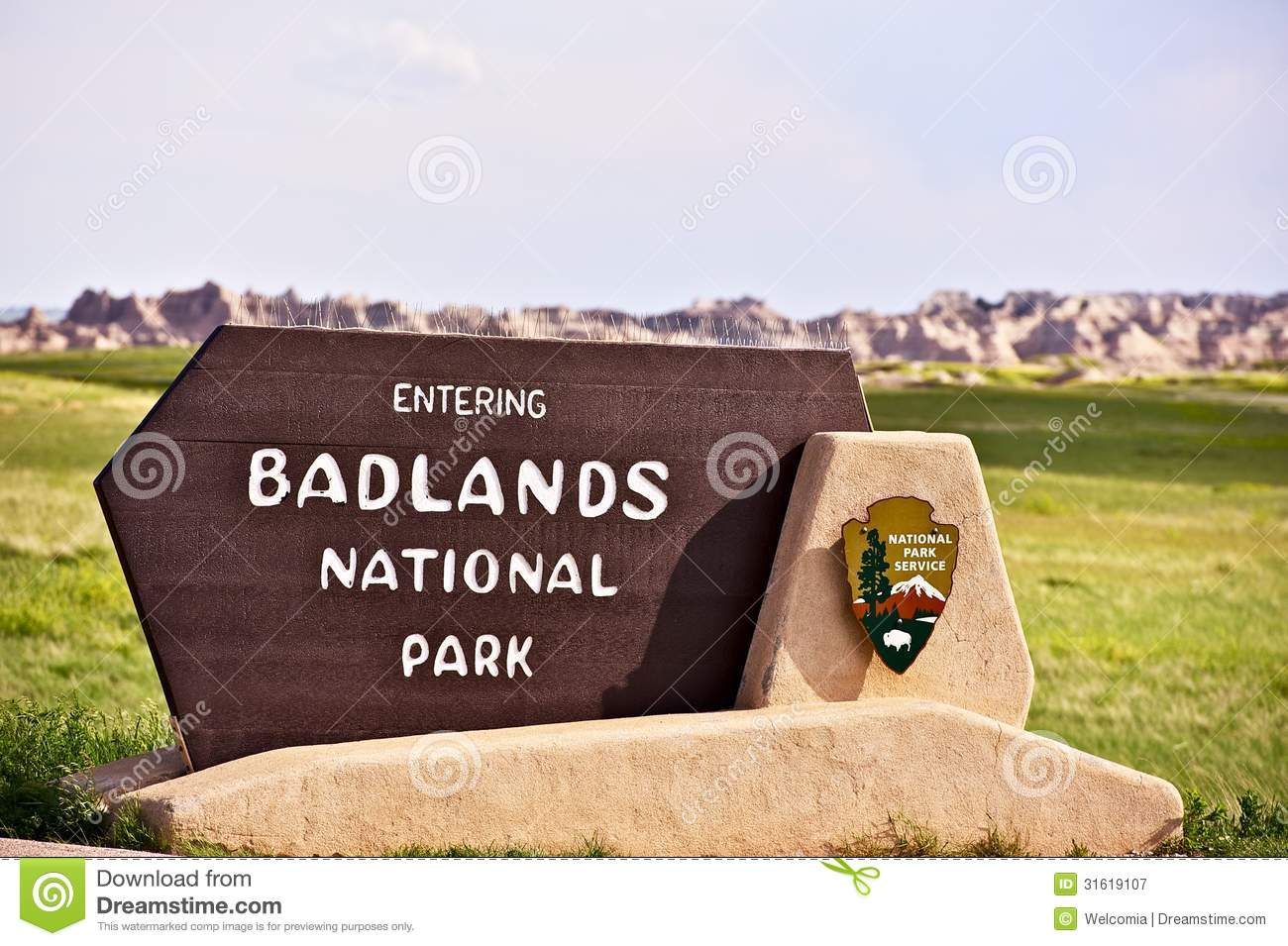 Badlands National Park Sign Royalty Free Stock Photography.