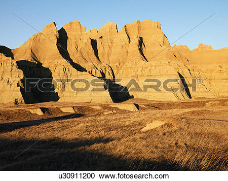 Stock Photography of Landscape in Badlands National Park, South.