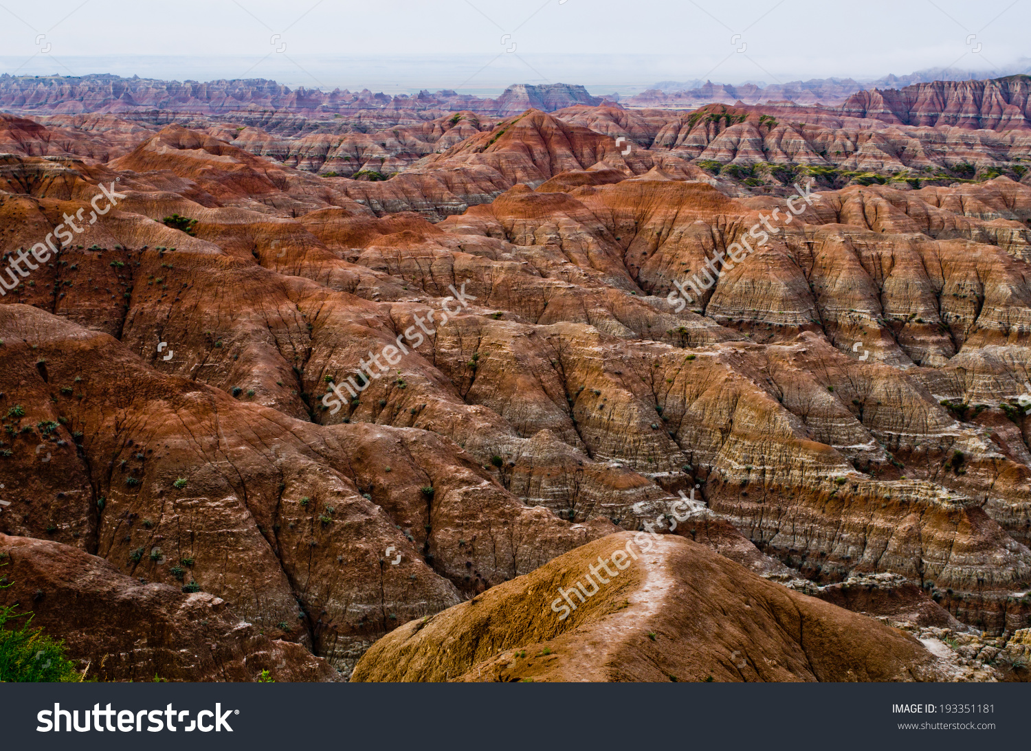 Dawn Pinnacle Overlook Badlands National Park Stock Photo.