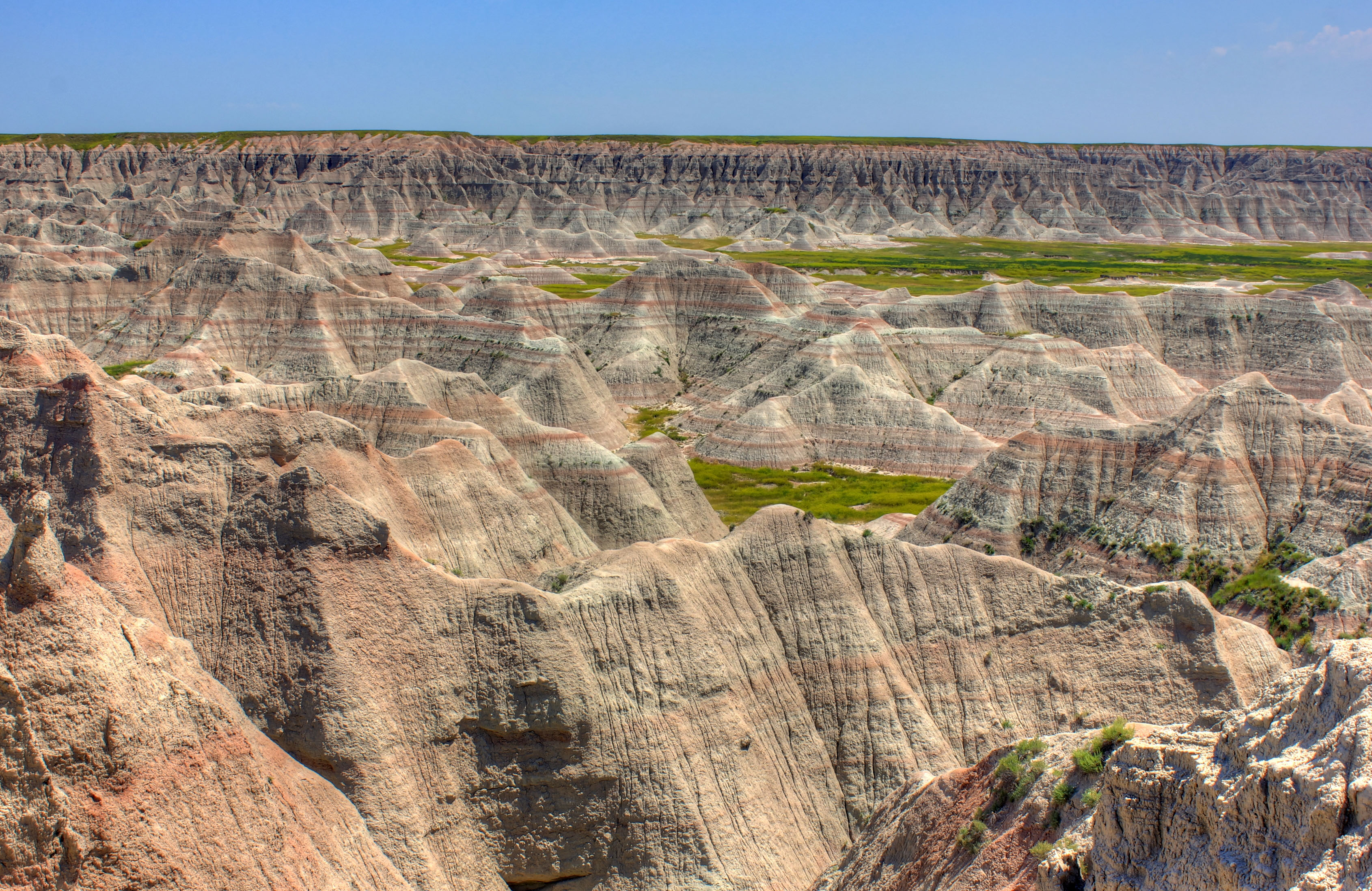 Closeup of the jagged landscape at Badlands National Park, South.
