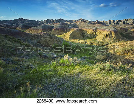 Stock Photography of The yellow mountain region in badlands.