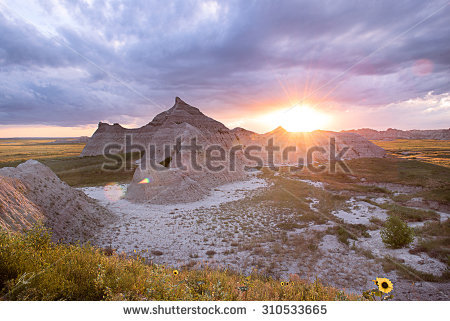 Badlands at sunset clipart #11