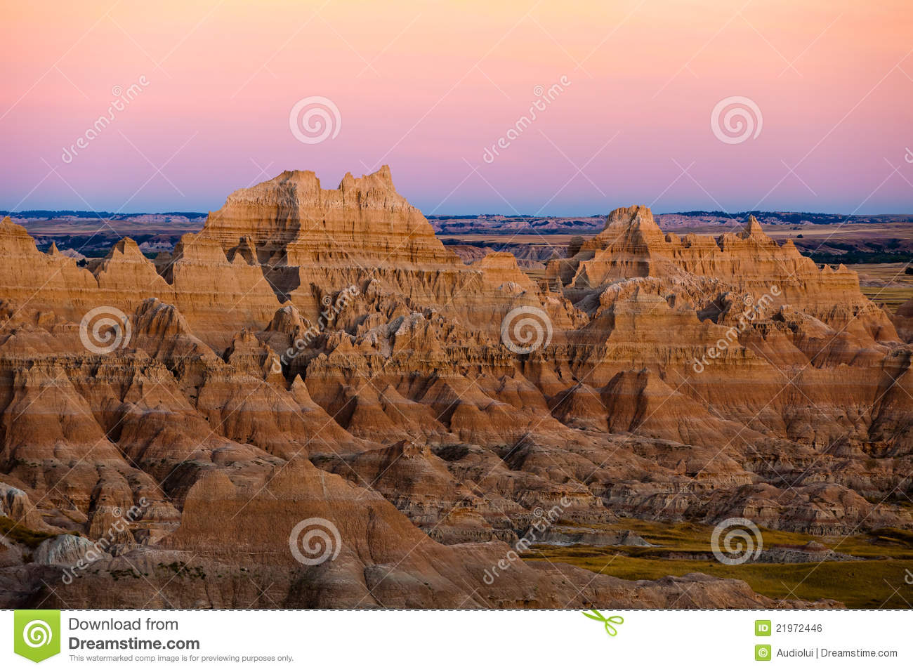 Sunset At Panorama Point At Badlands Royalty Free Stock Image.